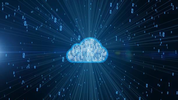 datos digitales de seguridad cibernética y tecnología de información futurista conceptual de la computación en la nube de big data utilizando inteligencia artificial ai - nube fotografías e imágenes de stock