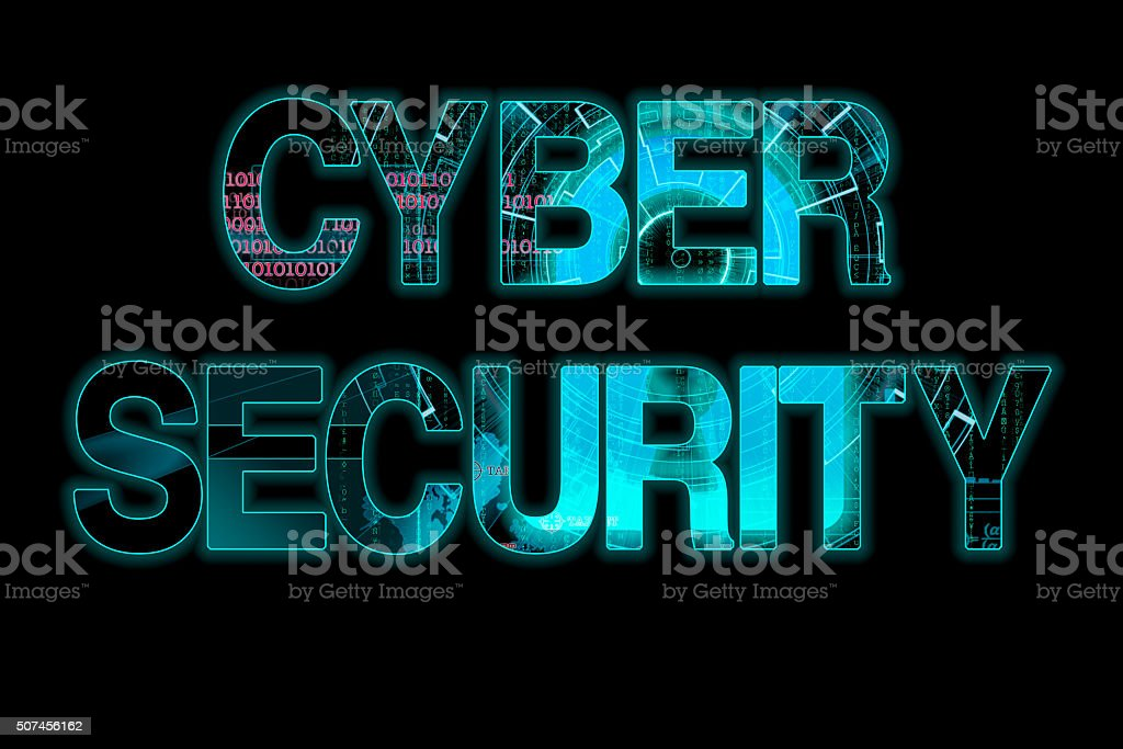 cyber security laser writing on a black background stock photo