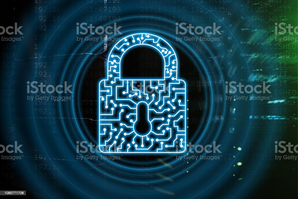 Cyber Security lock icon Information Privacy Data Protection internet...