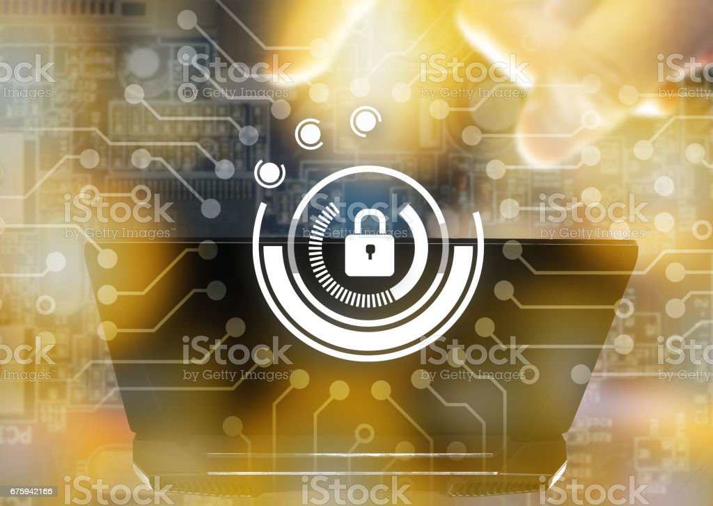 Cyber security network concept. Master key connect virtual networking graphic and blur laptop with flare light effect stock photo
