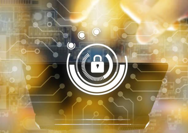 Concepto de red de la seguridad de Cyber. Llave maestra conectar virtual red gráfica y desenfoque del ordenador portátil con efecto de luz de Bengala - foto de stock