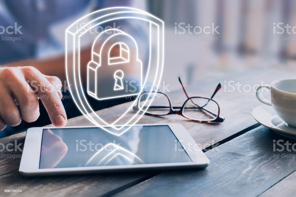 Cyber security on internet, protect personal data, 3d padlock shield stock photo