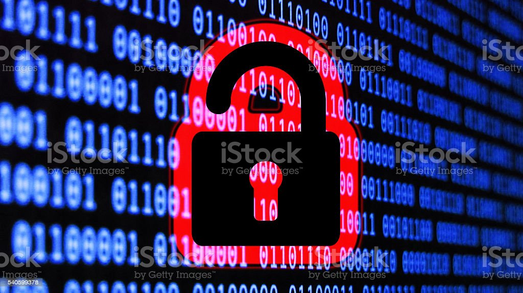 Cyber security padlock with binary code stock photo
