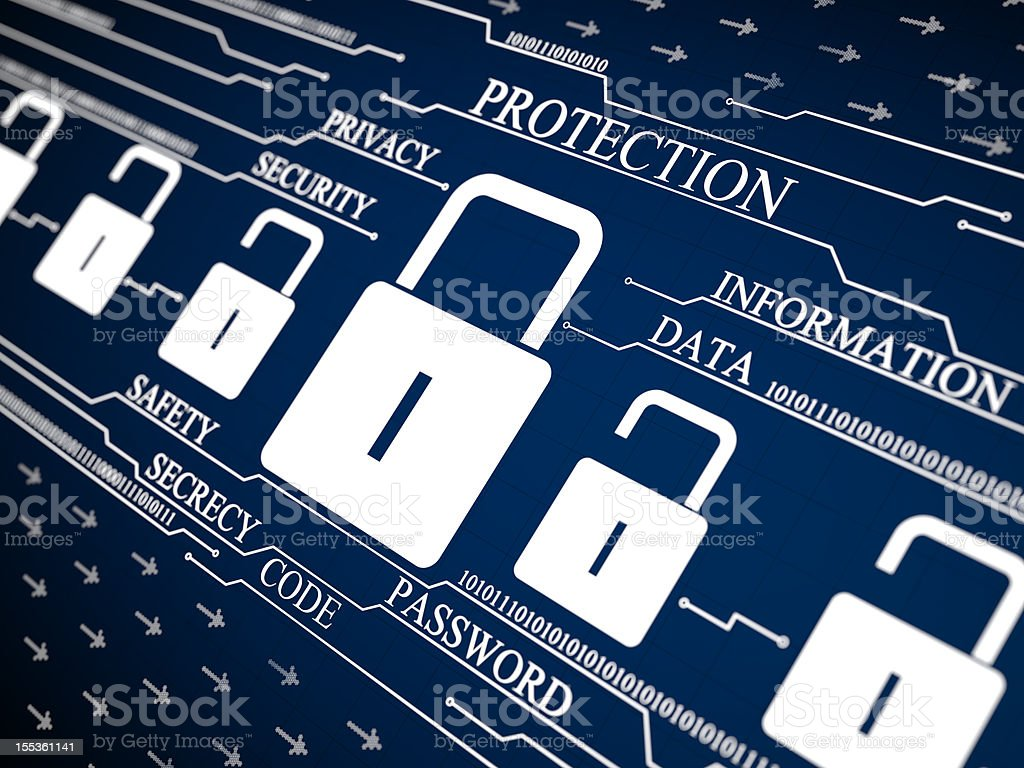 Cyber Security Protection Lock royalty-free stock photo