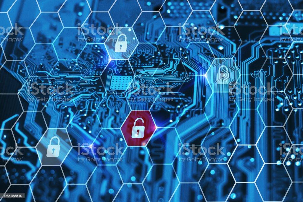 Siber güvenlik teknolojisi. Veri ihlali. Özel kişisel bilgilerinizi Internet üzerinde çevrimiçi korunması. Hacker saldırı kavramı. - Royalty-free Anakart Stok görsel
