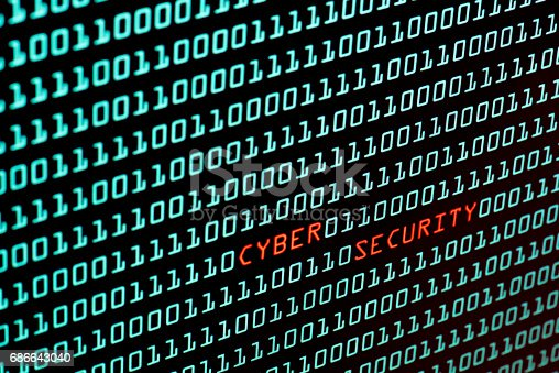 istock Cyber Security text and binary code concept from the desktop screen, selective focus 686643040