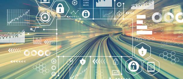 cyber-sicherheit mit abstrakten high-speed-technologie - schienenverkehr stock-fotos und bilder