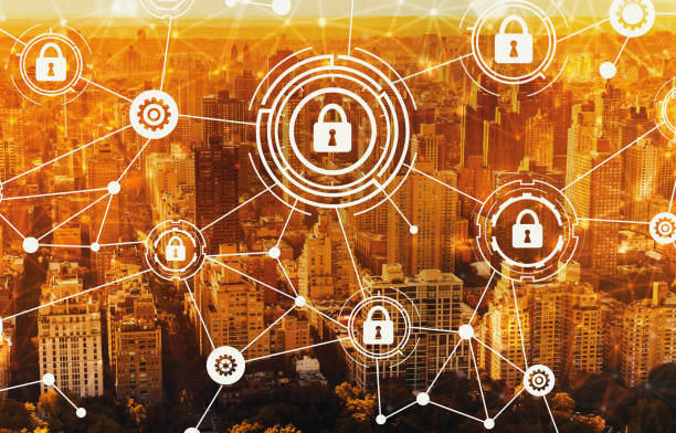 Cyber security with aerial view of NY skyline stock photo