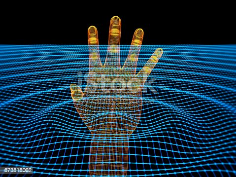 3d wirefime human hand in wavy wireframe water. Can use cyber tech, virtual reality etc. backgrounds. ( 3d render )