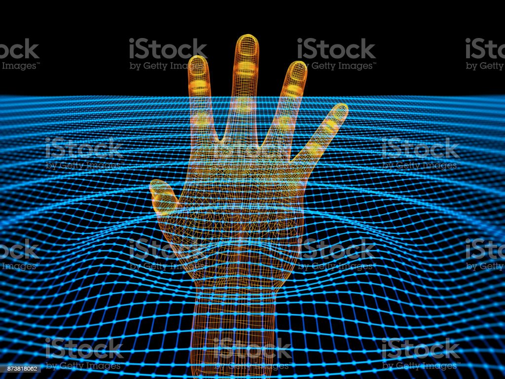 Cyber Technology Concept With 3d Wireframe Hand stock photo