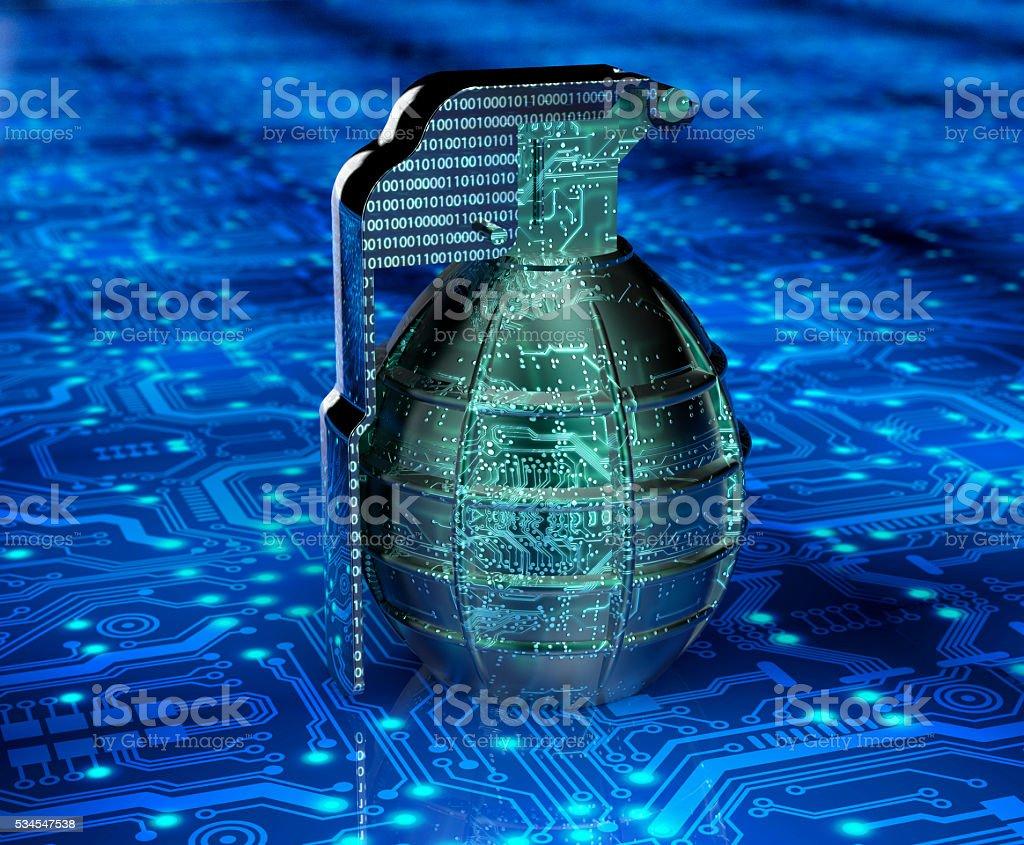 Cyber terrorismo conceito de computador bomba em electrónicos - foto de acervo