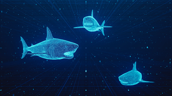 Conceptual digitally generated image of 3d binary textured sharks on virtual dark web space.