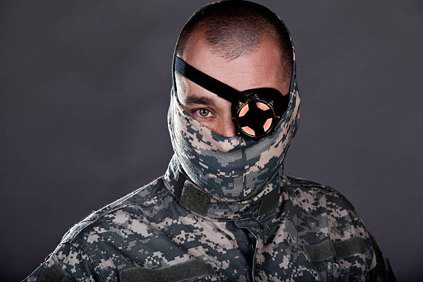 Cyber Warrior Villain Hero Cyber Terrorist You decide... costume eye patch stock pictures, royalty-free photos & images
