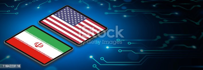 Cyberwars or technological allience of USA and Iran countries. 3D Flags of nations on digital tablet and circuit board techological background with large copy space.