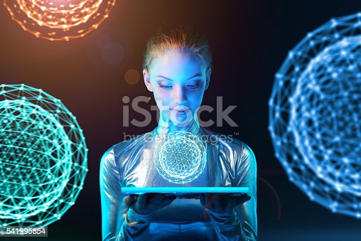 istock Cyber woman holding lighting panel with glowing polygonal abstract sphere 541995854
