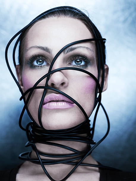 cyber woman stock photo
