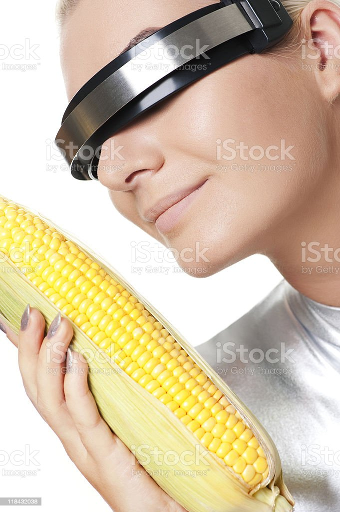 Cyber woman with a corn royalty-free stock photo