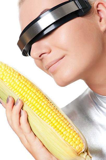 cyber woman with a corn - cyborg stock photos and pictures