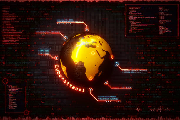 cyberangriff infografiken globe - target raumgestaltung stock-fotos und bilder