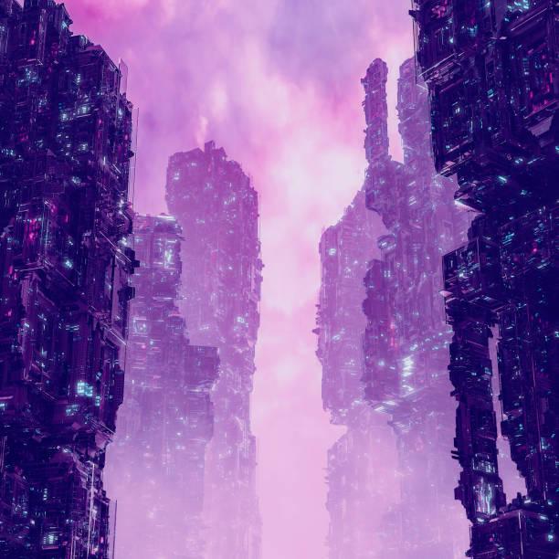Cyberpunk metropolis dawn stock photo