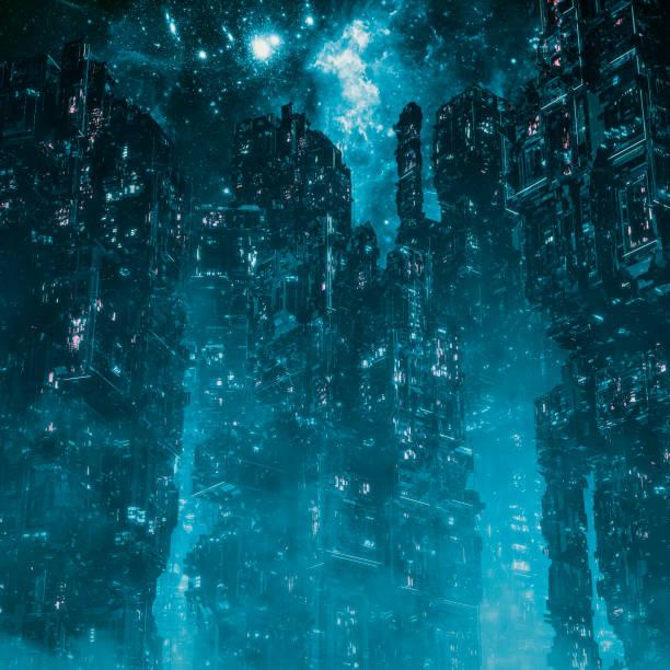 Cyberpunk metropolis night stock photo