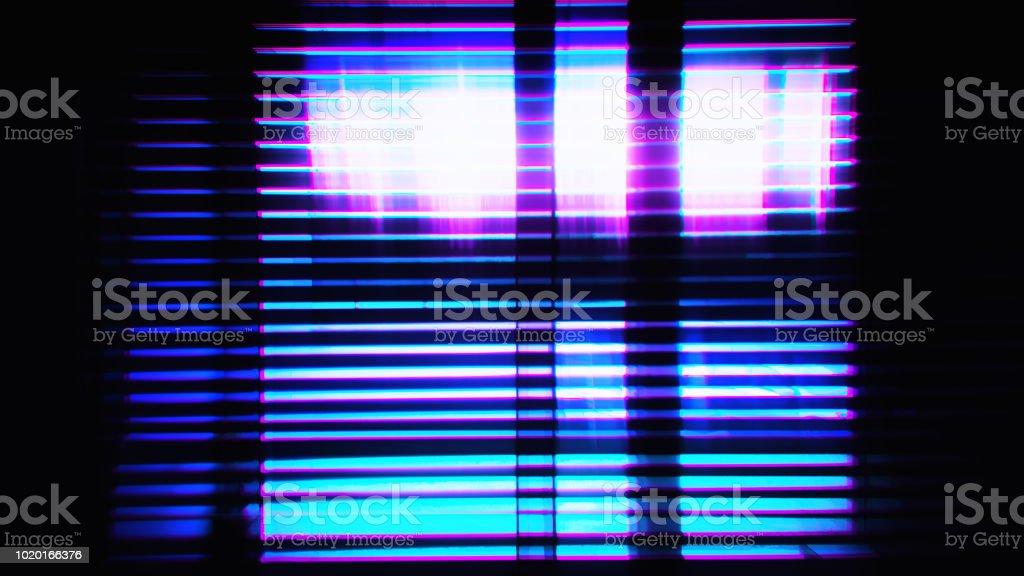 Cyberpunk retro future neon city illustration stock photo
