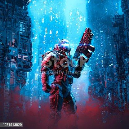 istock Cyberpunk soldier city patrol 1271513829