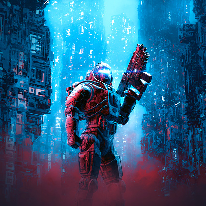 3D illustration of science fiction military robot warrior patrolling night time dystopian streets