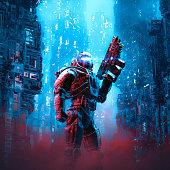 Cyberpunk soldier city patrol