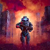 istock Cyberpunk soldier city warfare 1266931346