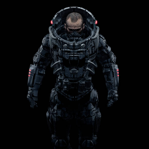 Cyberpunk soldier portrait stock photo