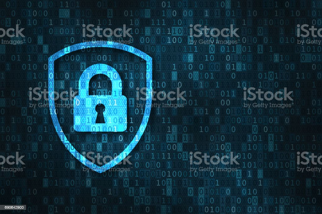 Cybersecurity and data privacy protection concept, lock, binary digits background stock photo