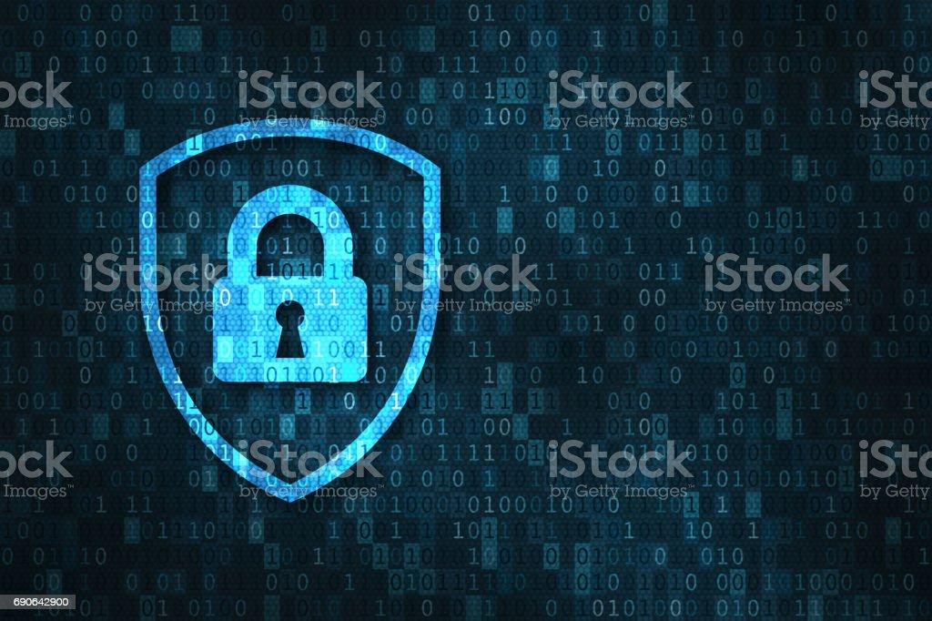 Cybersécurité et données confidentialité protection concept, serrure, fond de chiffres binaires - Photo