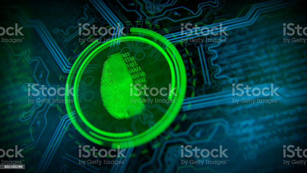 Cybersecurity and fingerprint network security. stock photo