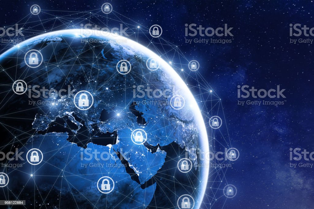 Cybersecurity and global communication, secure data network, elements from NASA stock photo