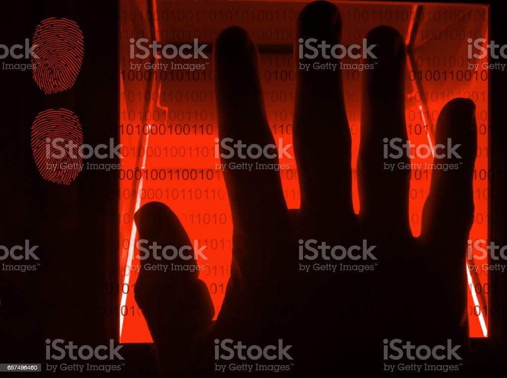 cybersecurity digital fingerprint scanning stock photo
