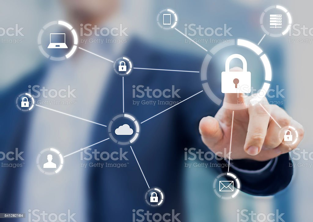 Cybersecurity of network of connected devices and personal data security - foto stock