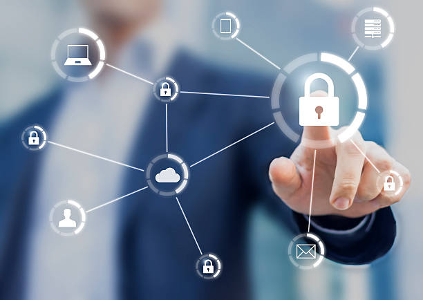 cybersecurity of network of connected devices and personal data security - sécurité informatique photos et images de collection