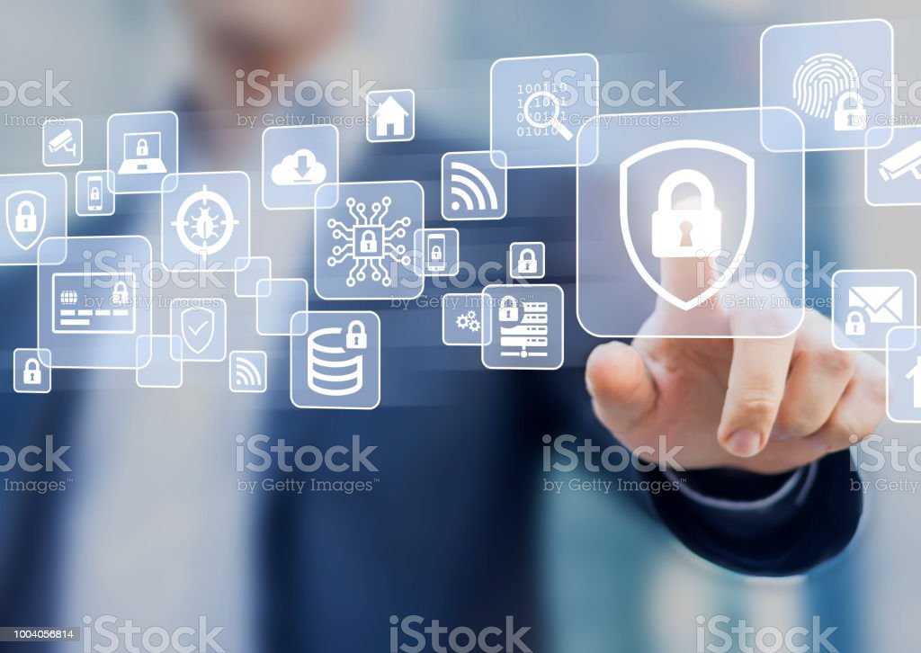 Cybersecurity on internet, secure network connection and cloud, personal data protection and privacy, technology against email phishing, fraud and cybercrime, business person touching screen stock photo