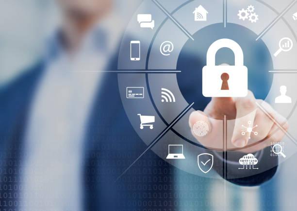 Cybersecurity im Internet mit Personenberührungsschnittstelle mit Icons von drahtlosem Netzanschlusszugang auf dem Handy, Online-Zahlung, Smartphone-App, Smart Home, IoT, Schutz der Daten vor Cyberkriminalität – Foto