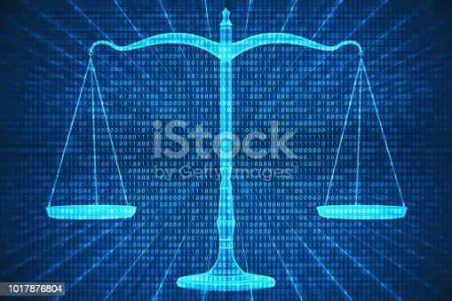 Abstract digital composite of scales of justice and binary codes.