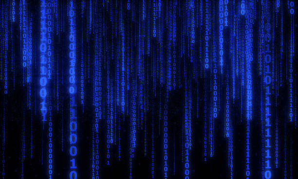 cyberspace with digital falling lines, binary hanging chain - bit binary stock pictures, royalty-free photos & images