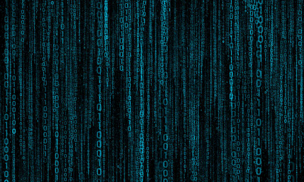 cyberspace with digital lines, binary hanging chain - bit binary stock pictures, royalty-free photos & images