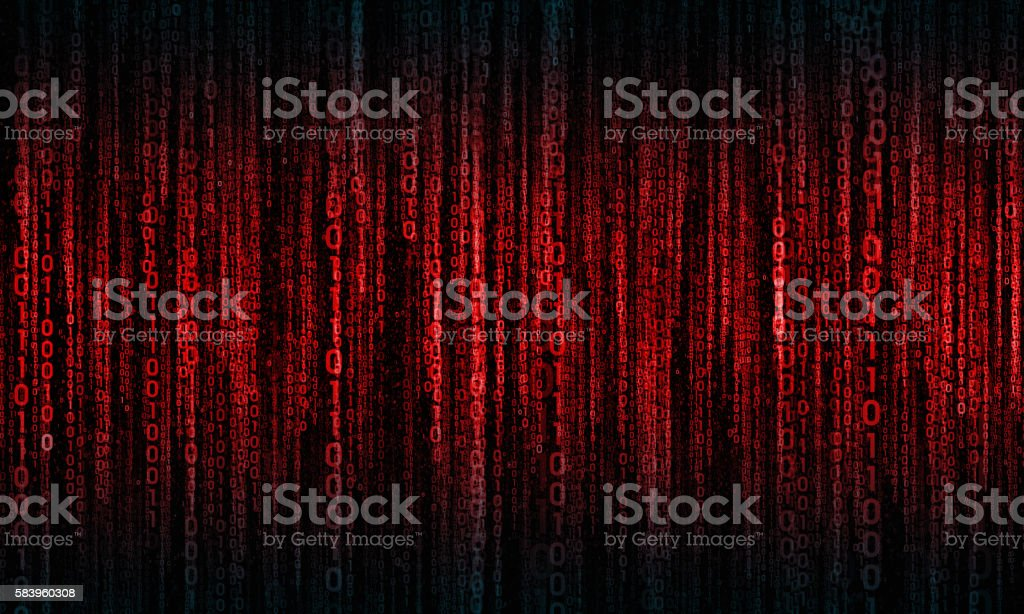 cyberspace with digital lines, binary hanging chain - foto de stock