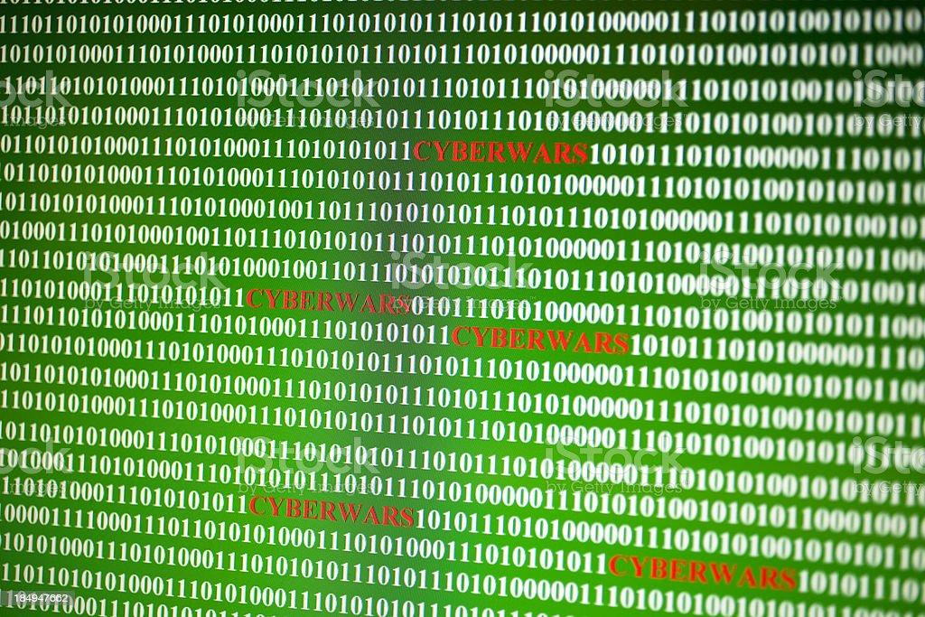 Cyberwars text written in binary codes royalty-free stock photo