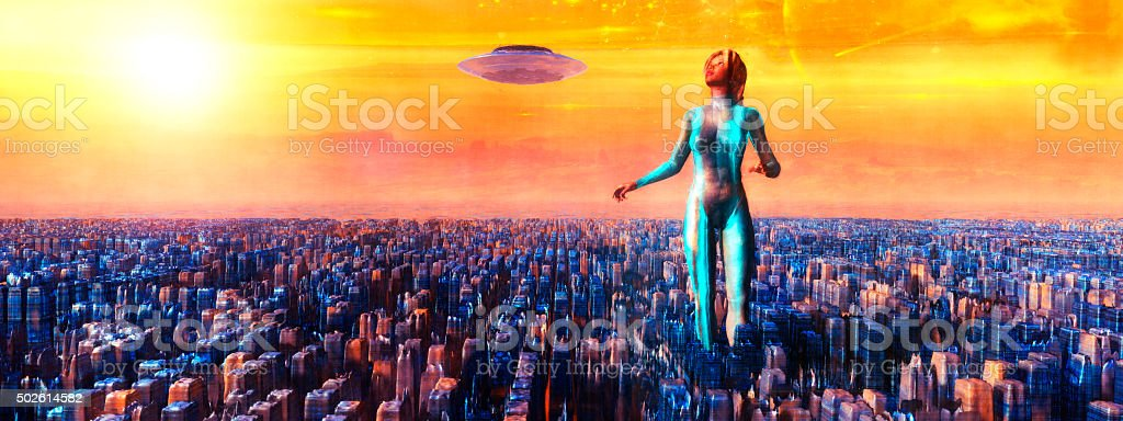 Cyborg astronaut walking on alien planet with flying UFO stock photo