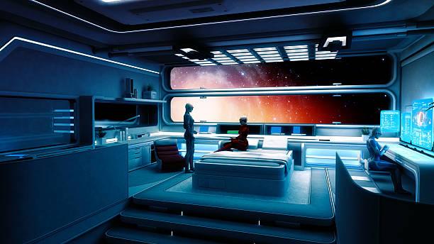 cyborg astronautes, vaisseau spatial, interstellaire voyage - vaisseau spatial photos et images de collection
