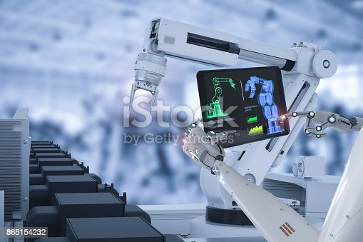 istock cyborg control robot assembly line 865154232