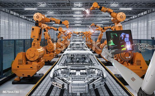 istock cyborg control robot assembly line 867944730