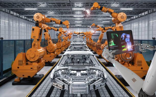 Cyborg Steuerung Roboter Montagelinie – Foto